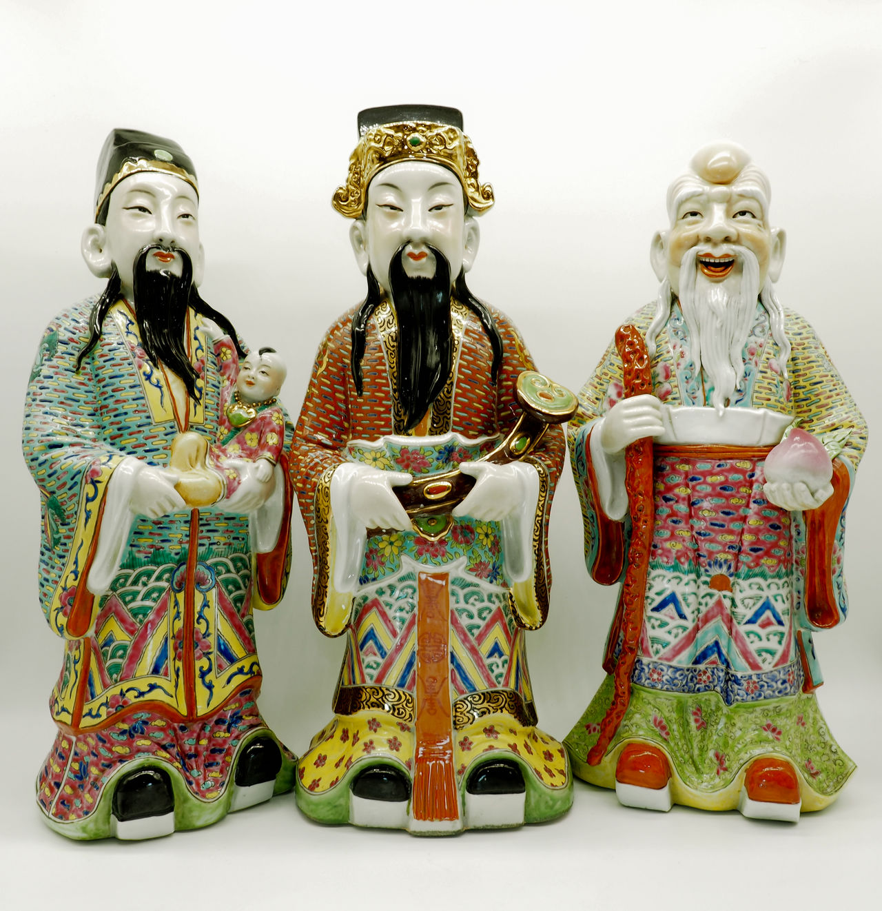 The Sanxing or Fu Lu and Shou are the gods of the three stars and the three qualities of Prosperity (Fu), Status (Lu) and Longevity (Shou) in Chinese Religion. Art Cai Zi Shou Chinese Culture Decoration Education Fu Lu Shou Happiness Indoor Long Life Longevity Prosperity Respect Sanxing Statue Status Three Gods Three Stars Traditional