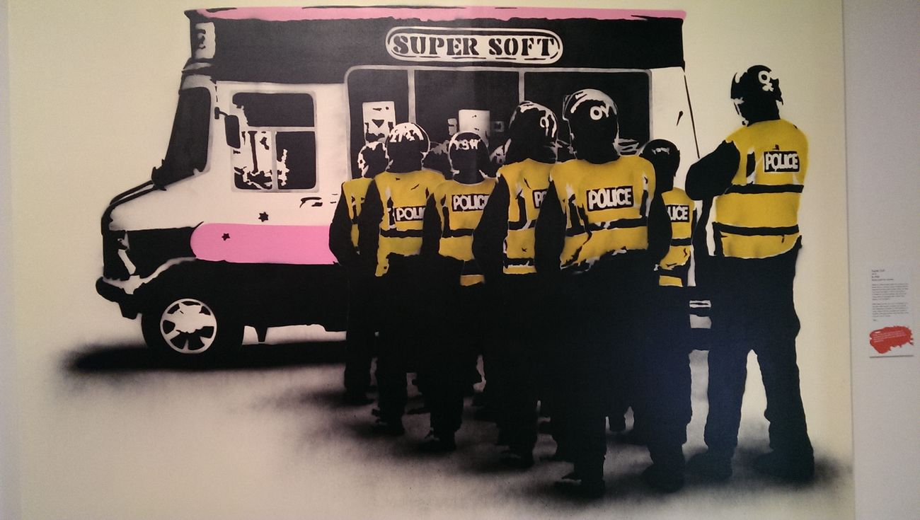 Guesswho Graffiti Ice Cream Time Police looks a little like Banksy to me.. ...... but it's by SPQR - Super soft