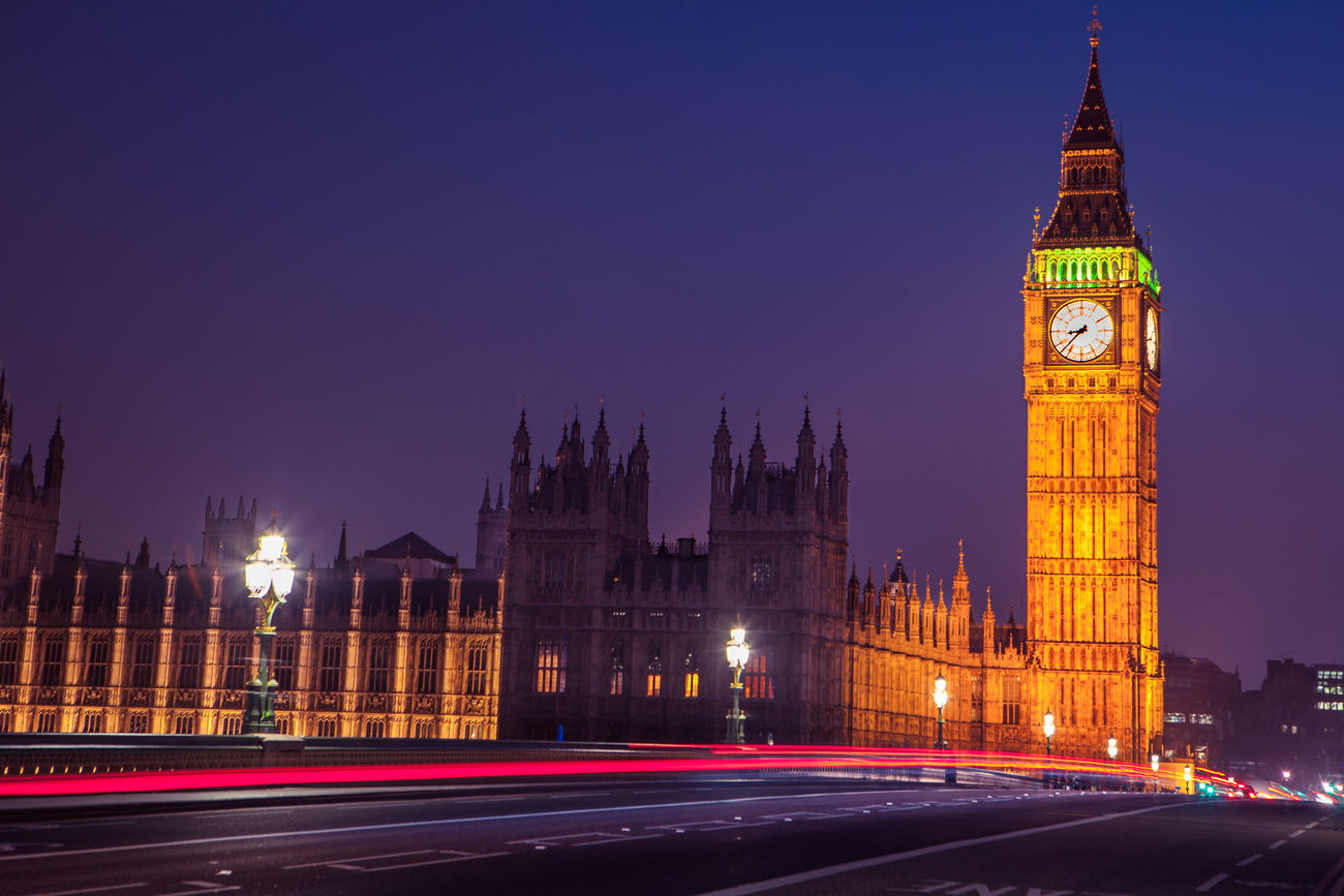 Big Ben, London Architecture Big Ben Bus Car City Cityscape Clock Clock Tower Government Houses Of Parliament Illuminated Light Trail London Long Exposure Motion Night Politics And Government Road Tower Traffic Travel Travel Destinations Westminster