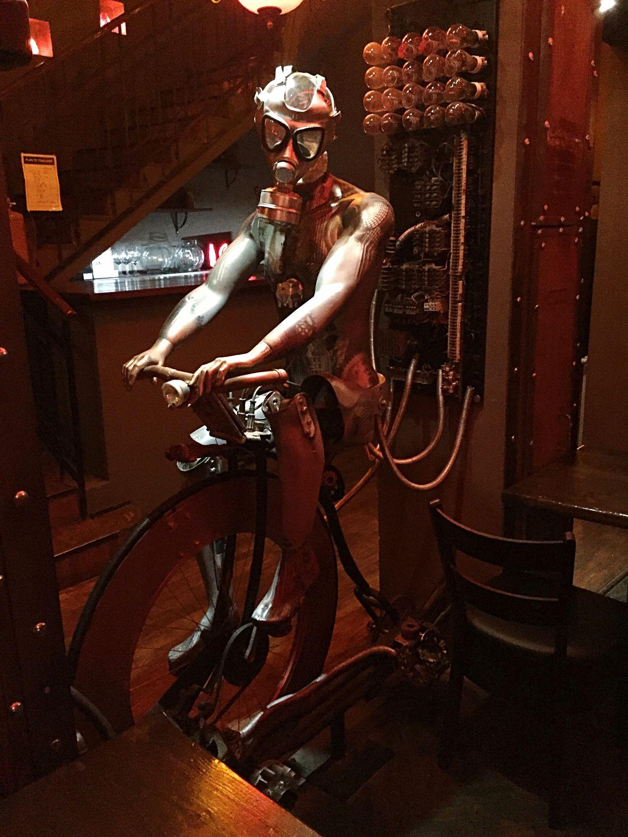 Steampunk Bicycle Metal Man Pedalling Mask Gasmask Cranks Iphonephotography