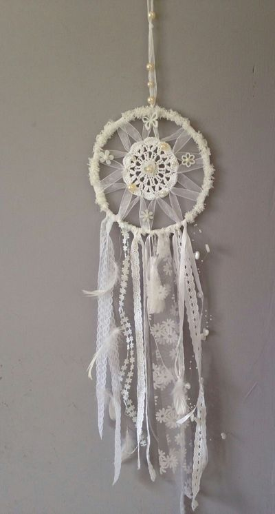 Dreamcatcher White Dreamcatcher Ibizastyle  Ibizalook Bohemian Style Bohemian White Color Decoration Handmade Dreamcatcher Made By Mom With Love Homedecoration White Flowers White Feathers The 00 Mission