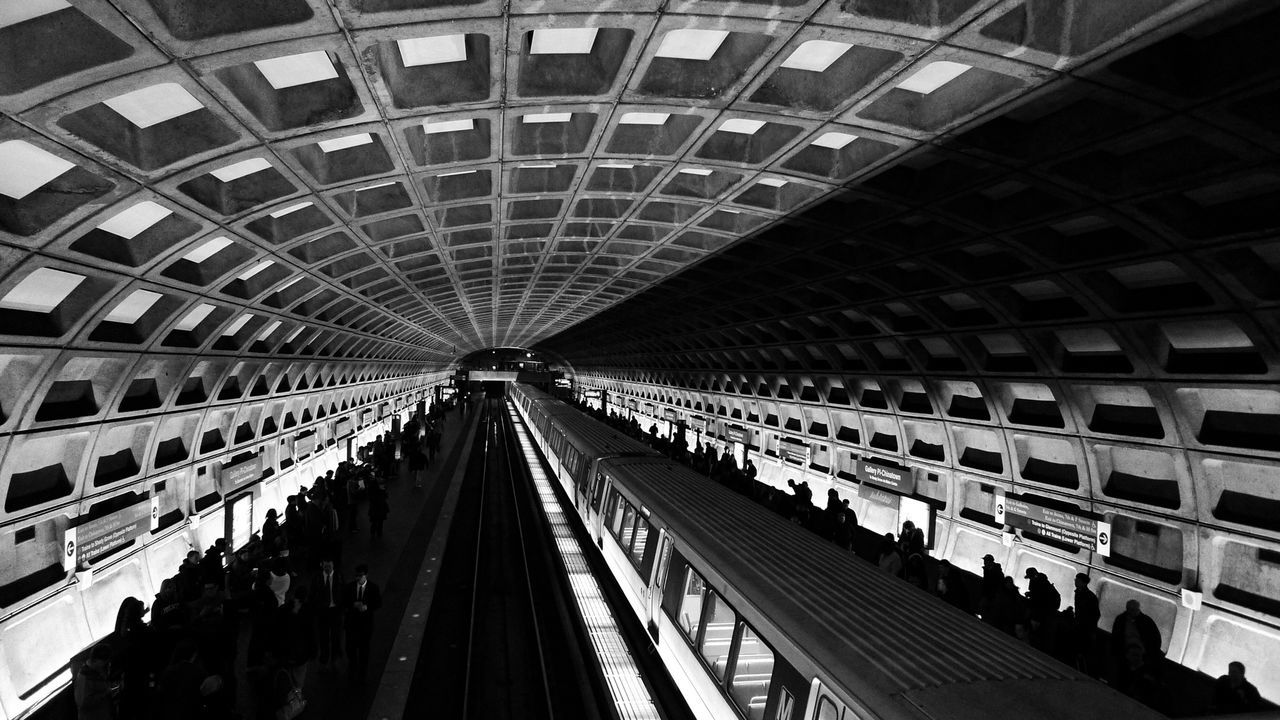 Amazing Architecture Subway Train Station Blackandwhite Architecture Taken in Washington D.C. Shades Of Grey Many of DC's metro stations were designed by Harry Weese and are examples of late-20th century Modern Architecture with a hint of brutalist design. Submitted for The Architect - 2015 EyeEm Awards