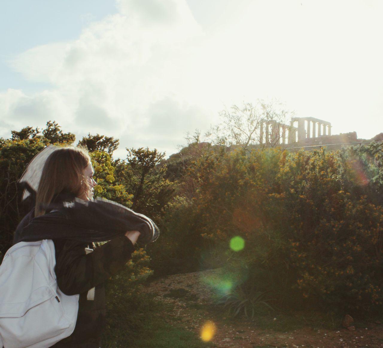 Women Around The World Greece Cape Sunion Unique Sunset Mistic Peace Long Hair Trip Travel
