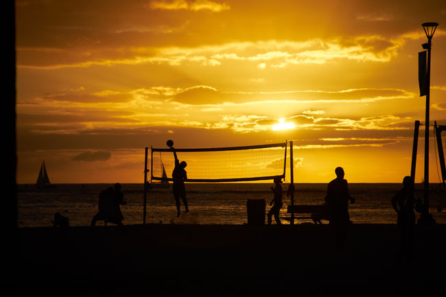 Beach Beach Volleyball Beautiful Beauty In Nature EyeEm Best Shots Golden Hour Horizon Over Water Horizontal Idyllic Lifestyles Men Nature Net - Sports Equipment Outdoors People Real People Sea Silhouette Sky Sport Sportsman Sunset Sunset_collection Volleyball - Sport Water