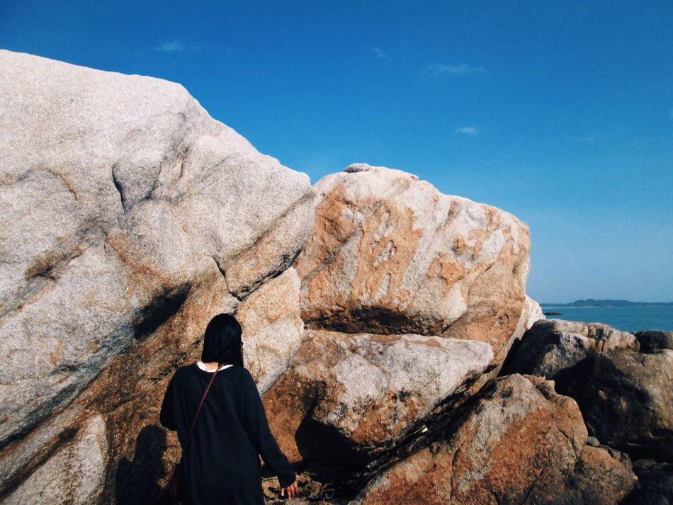 Just blue sky, rock, and sunny day. Eyeembeach Eyeemindonesia Explorebangka Beachvibes