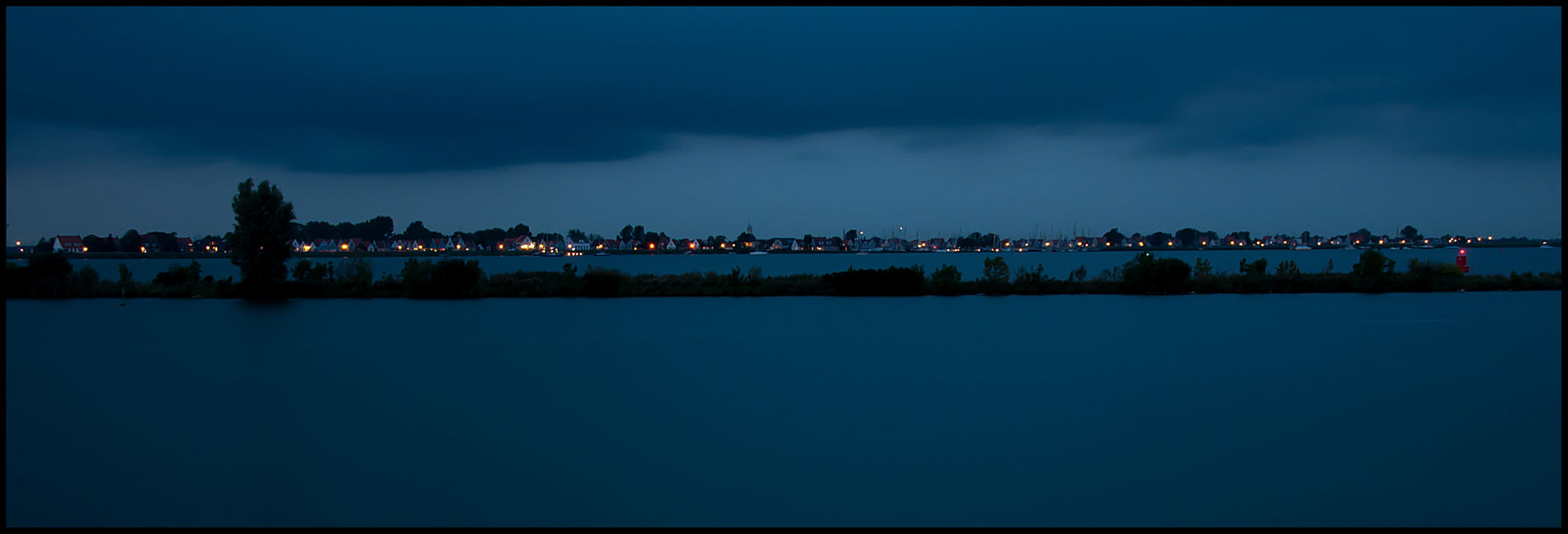 Durgerdam Panorama Village Water Evening Blue Sky Blue Long Exposure Lights