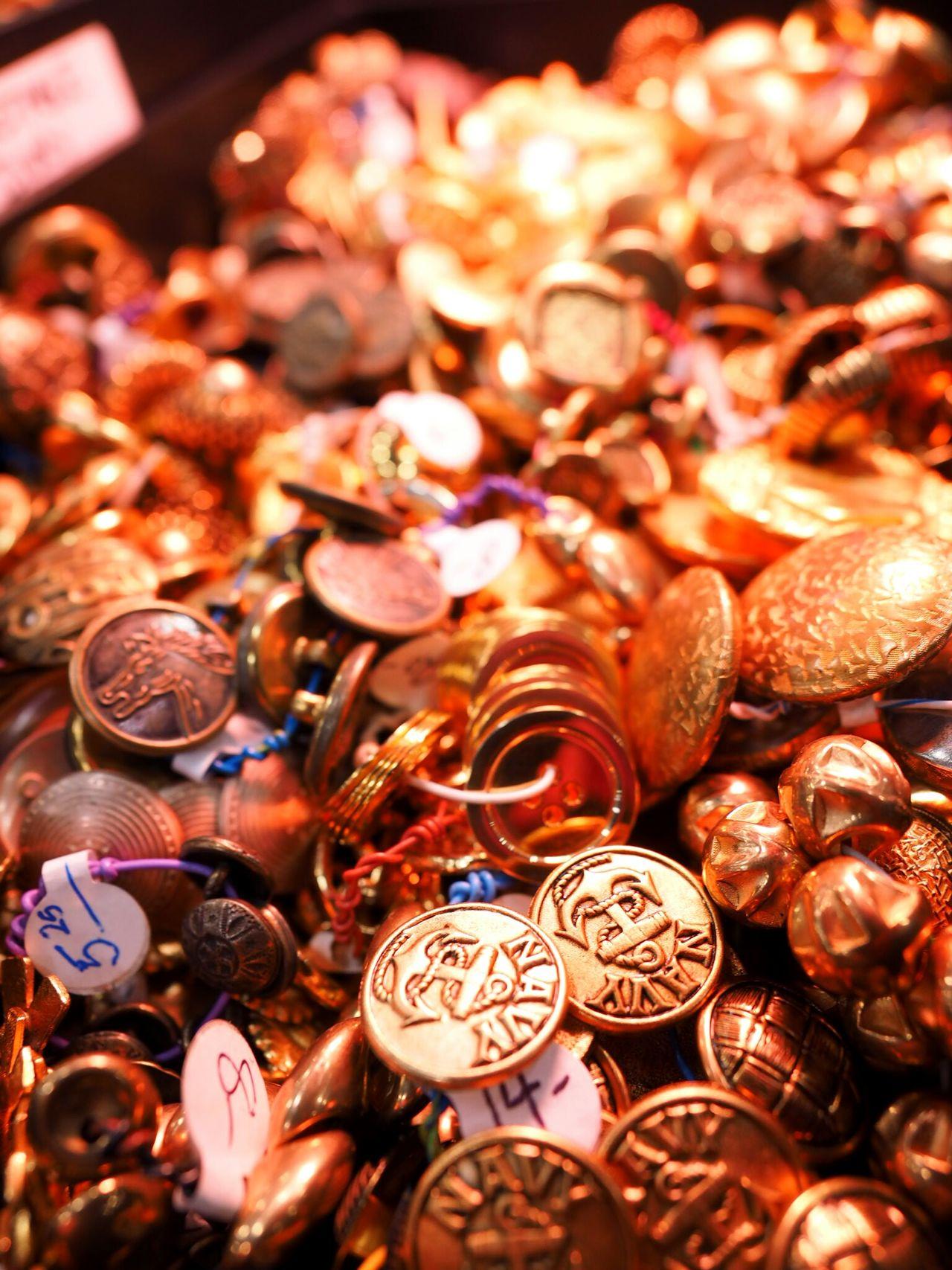 A bin full of gold buttons ... 43 Golden Moments Gold Buttons Navy Getolympus Zuiko Digital TravelOregon Portland, OR Olympus OM-D EM-1 Omdem1 Close-up