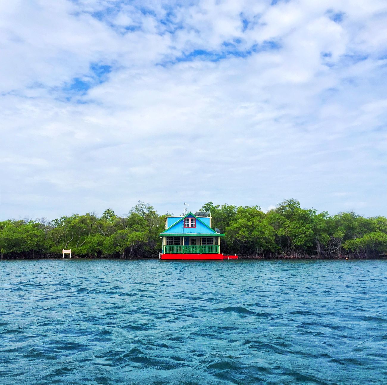 Just a little colored boat house in the middle of the ocean in La Parguera, Puerto Rico. IPS2015Symmetry Amazing Summer Nature Iphoneonly Check This Out Relaxing Beach Love Landscape