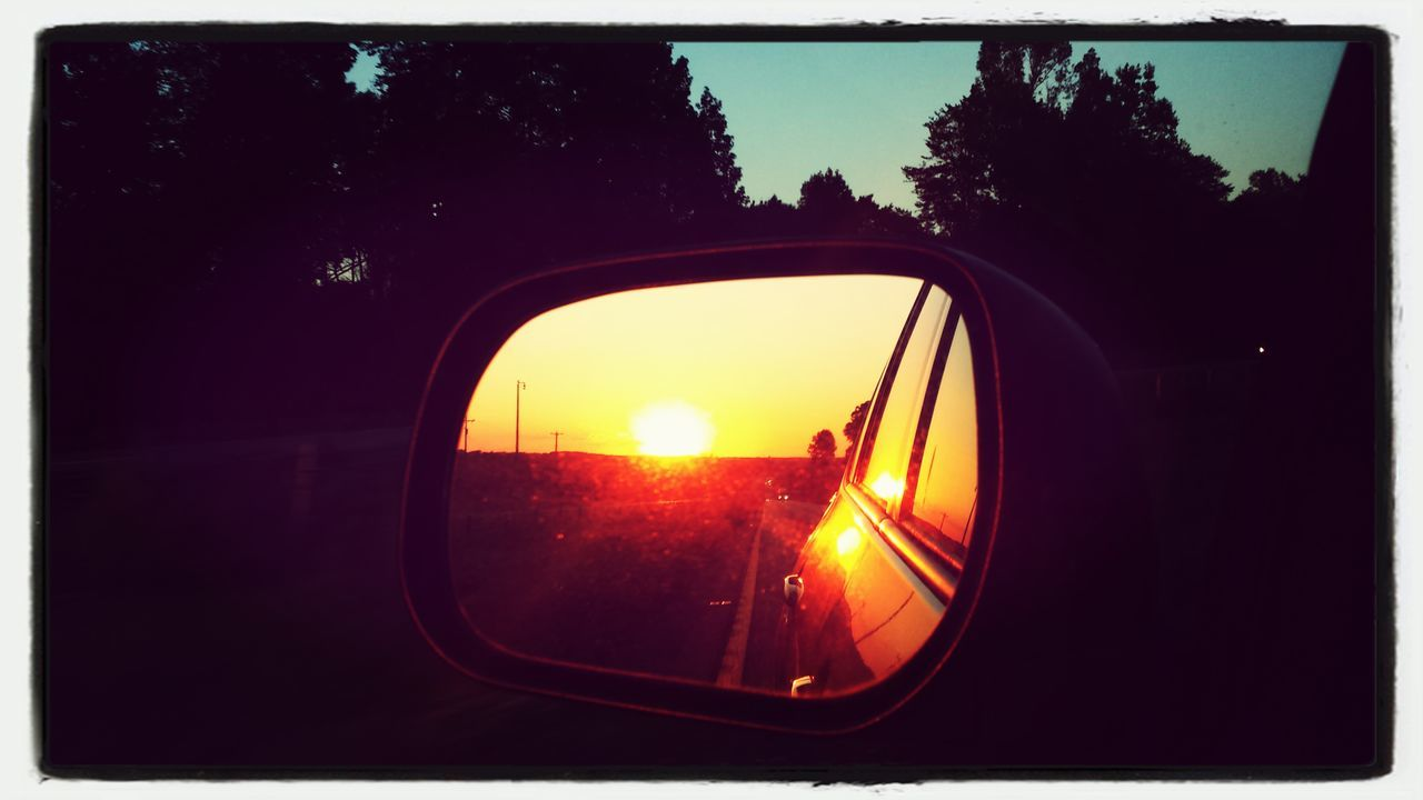 Sunset Rearviewmirrorshot Mirror
