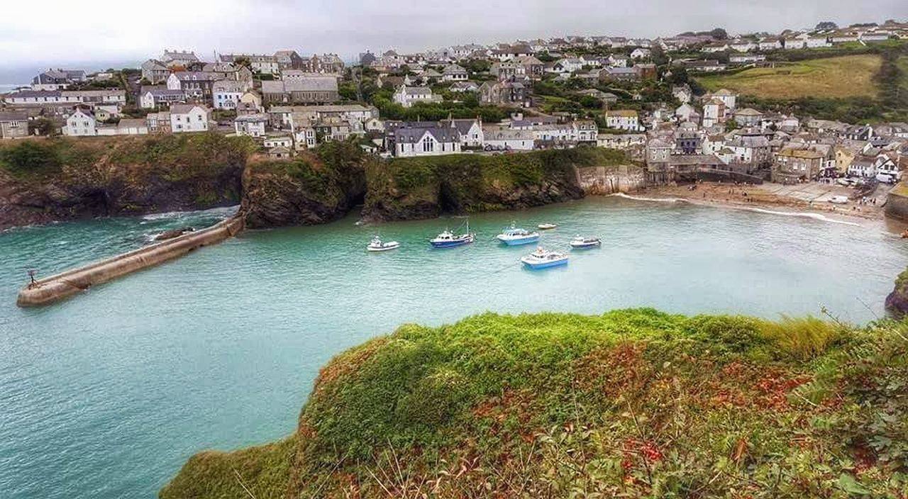 Cloudy day in Port Isaac. Water High Angle View Outdoors Day Sky Beauty In Nature Rocks Cornwalluk Cornwall Life Scenics Sea Backgrounds Tranquility Beauty In Nature Portisaac Port Torquoise Torquoise Sea Boats Boats And Water Boats And Moorings Boat Dock Harbour Harbour View