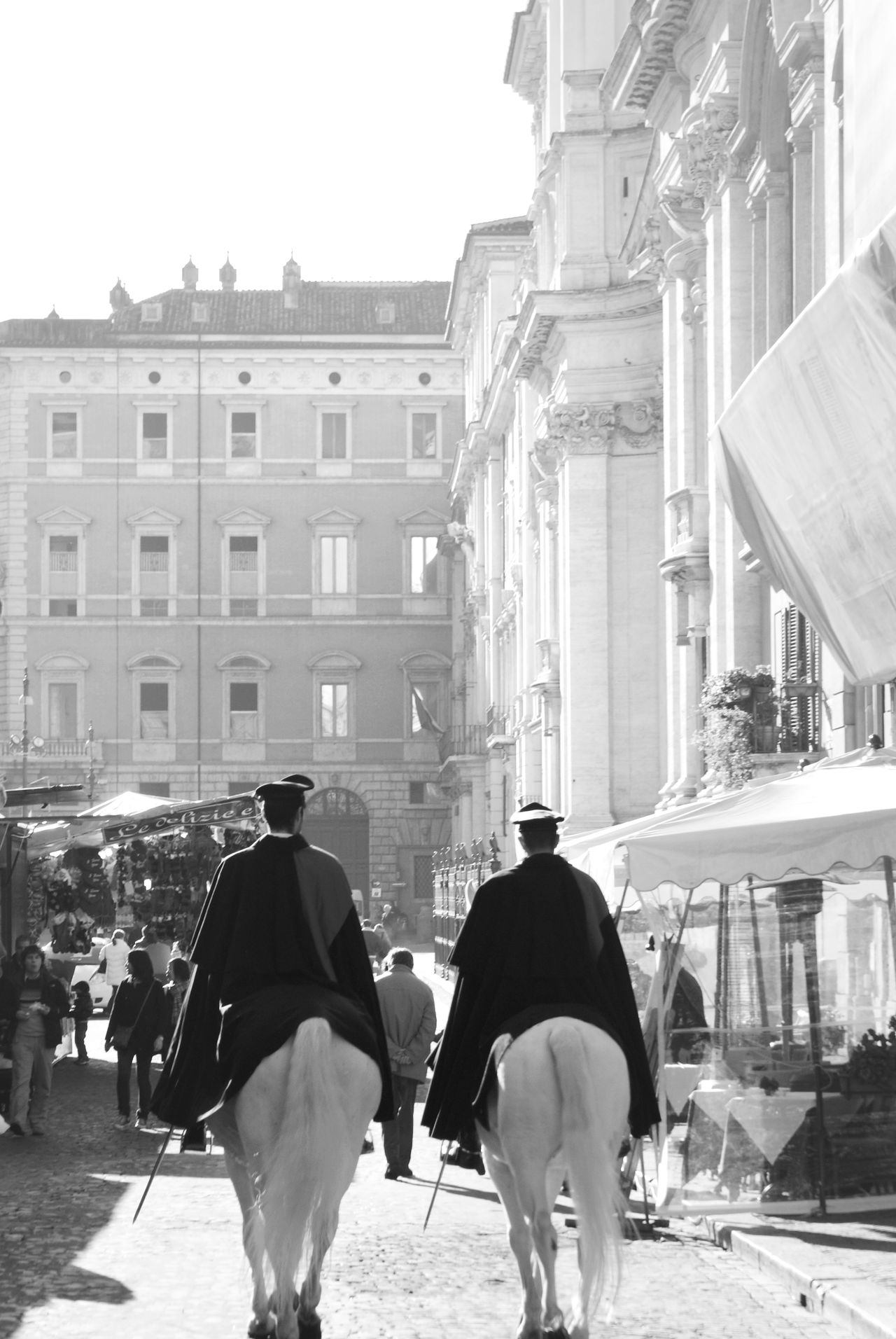 City Two People Outdoors Military Uniform Architecture Adult Italy Europe Horses Working Horse Sunlight Market Vacation Blackandwhite