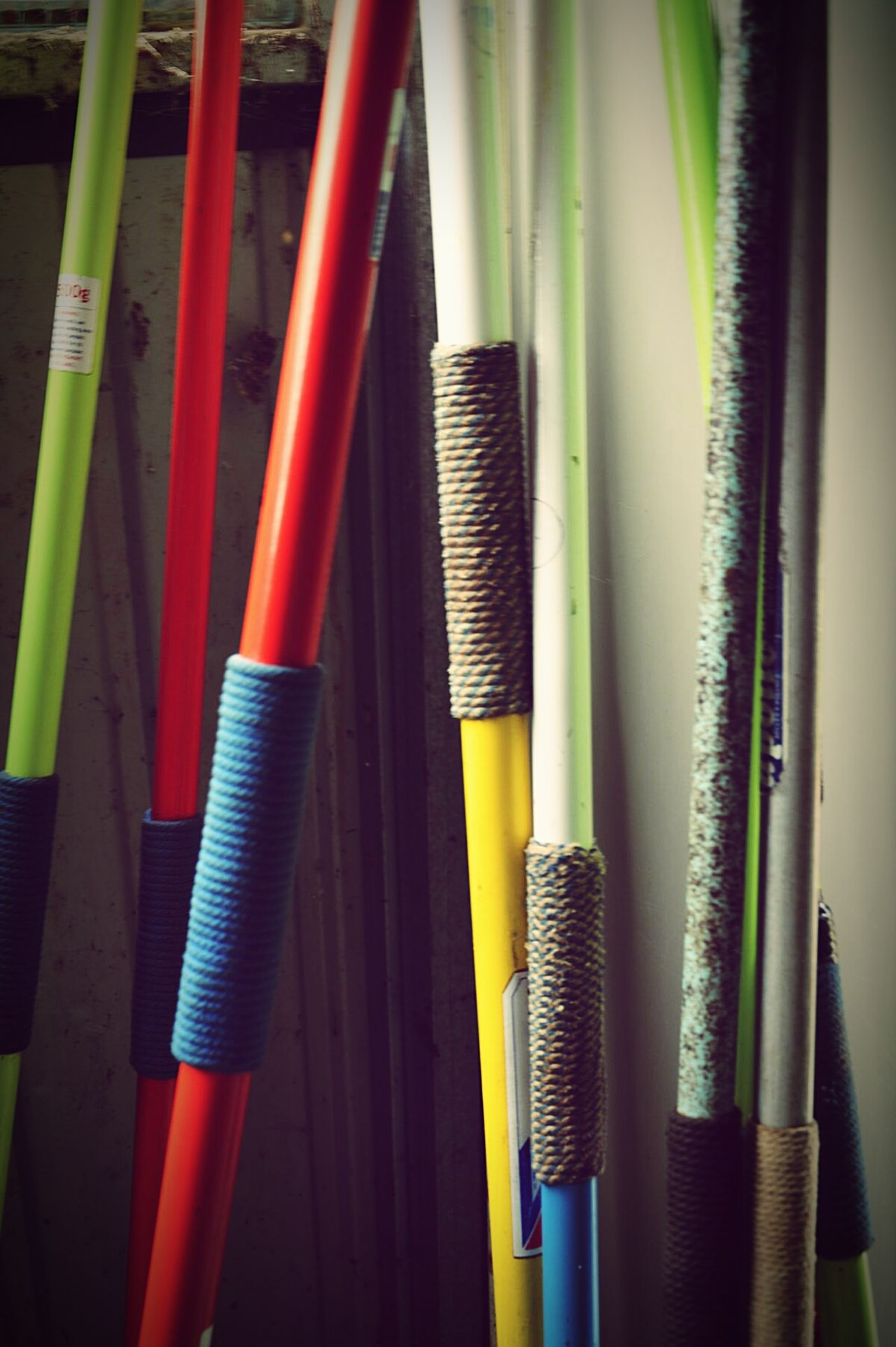Vecchia Atletica... giavellotti Variation In A Row Multi Colored Group Of Objects Blue Slanted Close-up No People lancie magazino