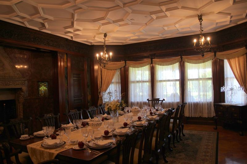 Mansion Interior Grand Dining Room Table chairs and place settings Incredible Ceiling Old World Charm No People