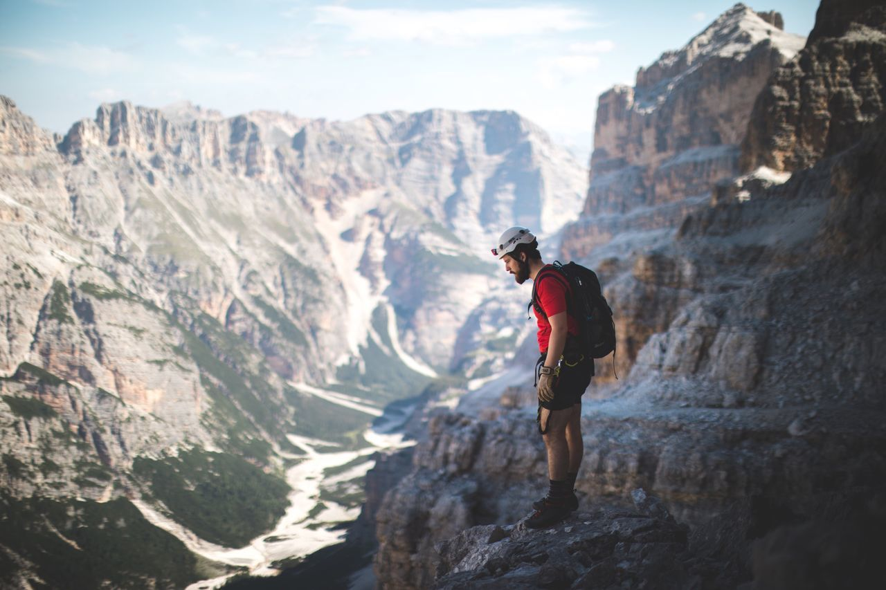 'Hey the people down there look like ants' Mountain Valley Dolomites, Italy One Person Mountain Range Adventure Nature Outdoors Climbing Climbing A Mountain Brother Friends Travel