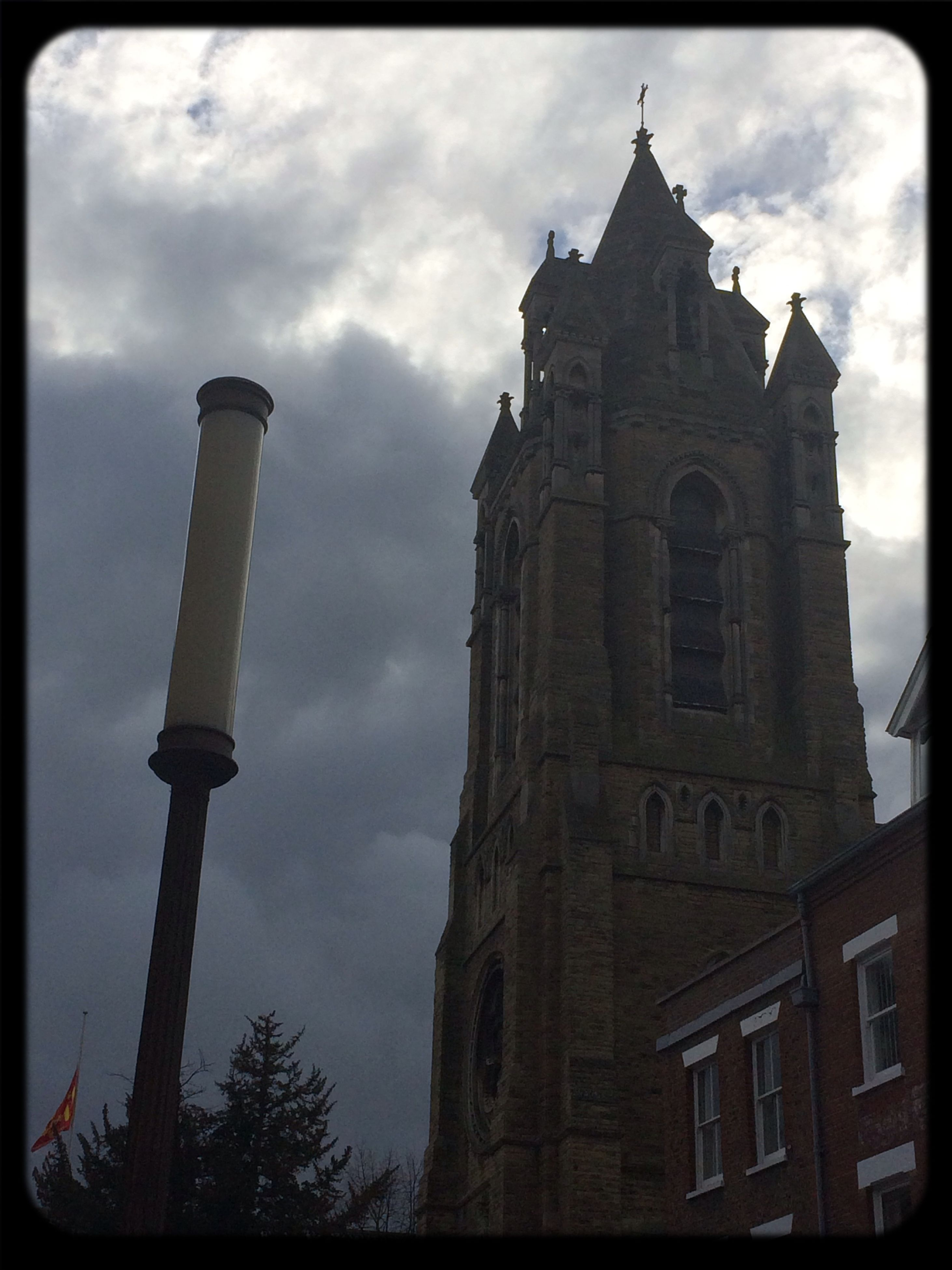 architecture, building exterior, built structure, low angle view, transfer print, sky, auto post production filter, religion, cloud - sky, tower, clock tower, church, history, cloudy, cloud, place of worship, spirituality, old