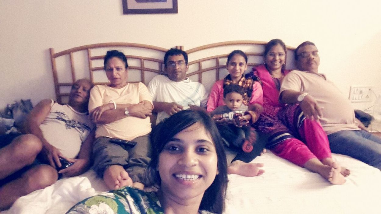One big happy family Vacation Time What I Value Self Portrait Around The World Family Big Bed Mumbai Indian Family