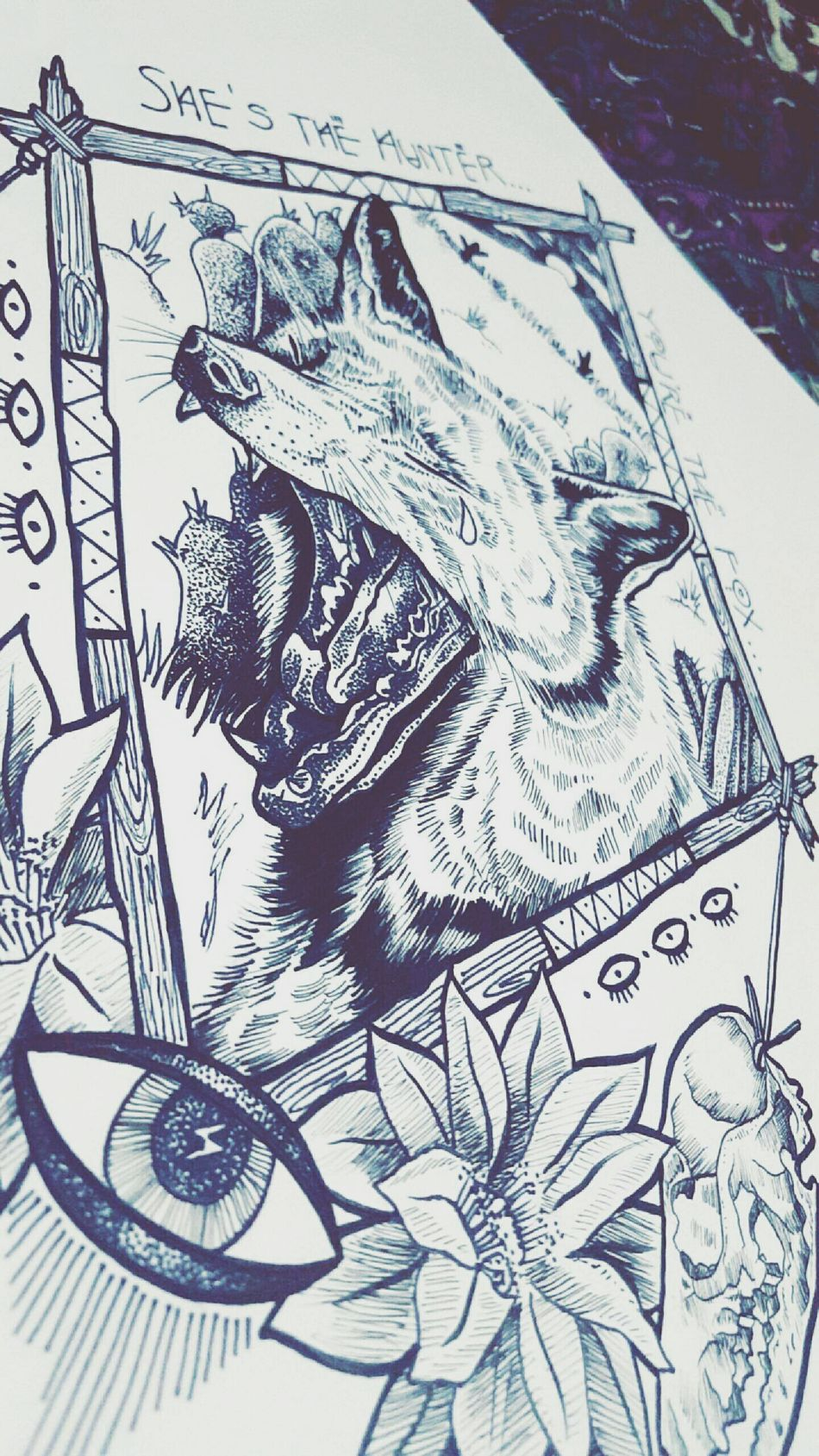 She's the hunter... You're the fox Creating Australia Melbourneartists Love Createdaily Inspire Photography POTD Life Nature Dotwork Fineliner Illustration Art Artist Skulls Flowers Animal Bohemian Summerstone Redfox ThirdEye Desert Tears