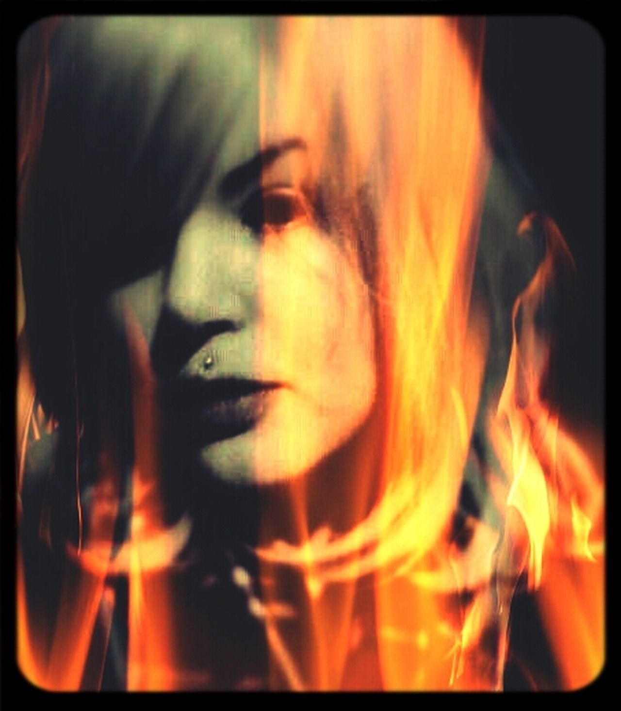 Selfportrait Flames Artistic I'm Burning