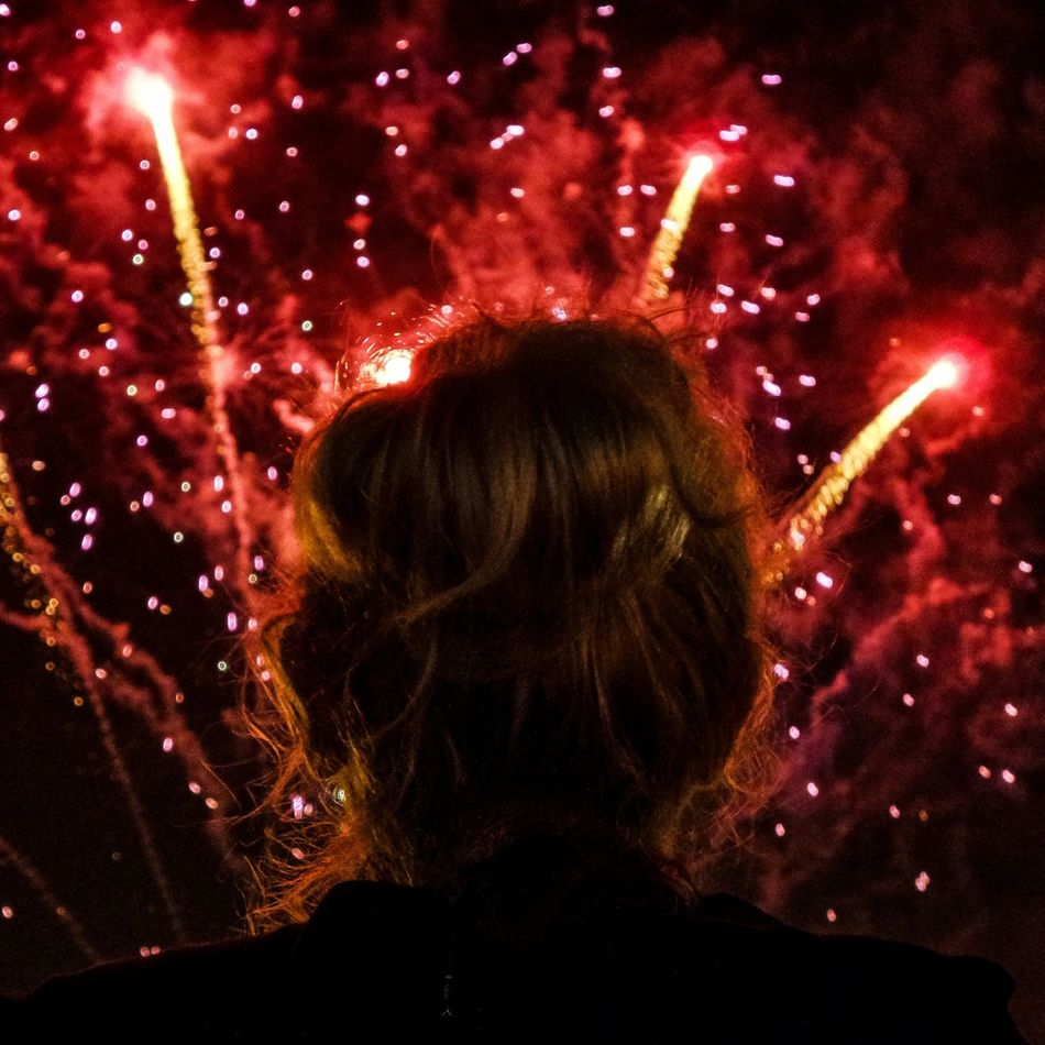 Red Illuminated Headshot Adults Only One Person Night Fireworks Fireworks In The Sky Watching Fireworks Welcome To Black
