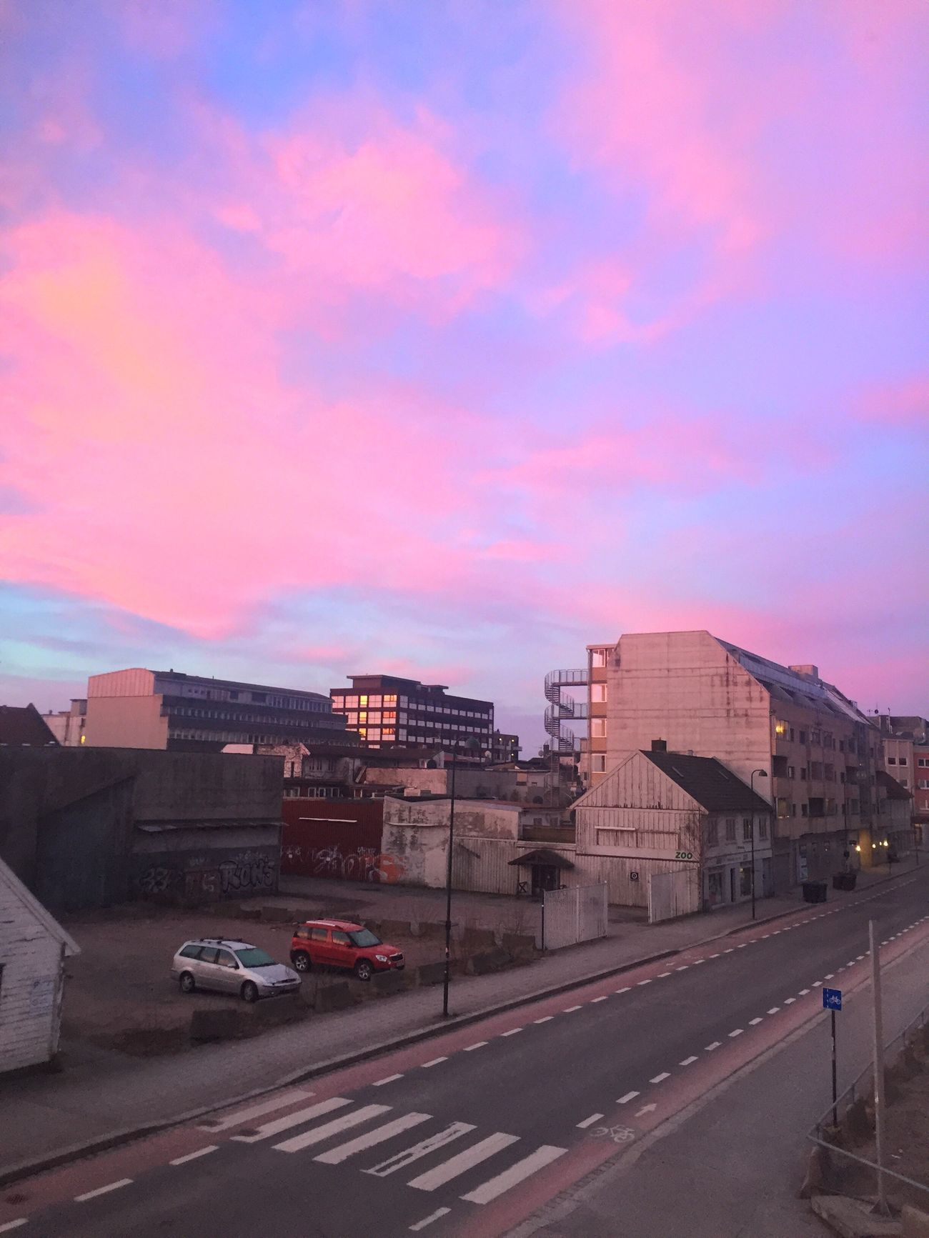 View from window View City Town Morning Landscape Photography Love Sky Pink Clouds