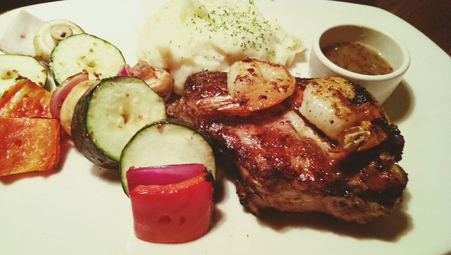 honey glazed pork with wasabi marmalade and prawns on top! Pork Quality Cut Dinner Food Photography