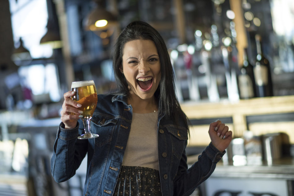 Alcohlday Alcohol Bar Beer Champagne Flute Crazy Drink Drinking Drinking Glass Emo Enjoyment Focus On Foreground Food And Drink Front View Happy Happy People Holding Laugh One Person People Restaurant S Woman Woman Portrait Young Adult