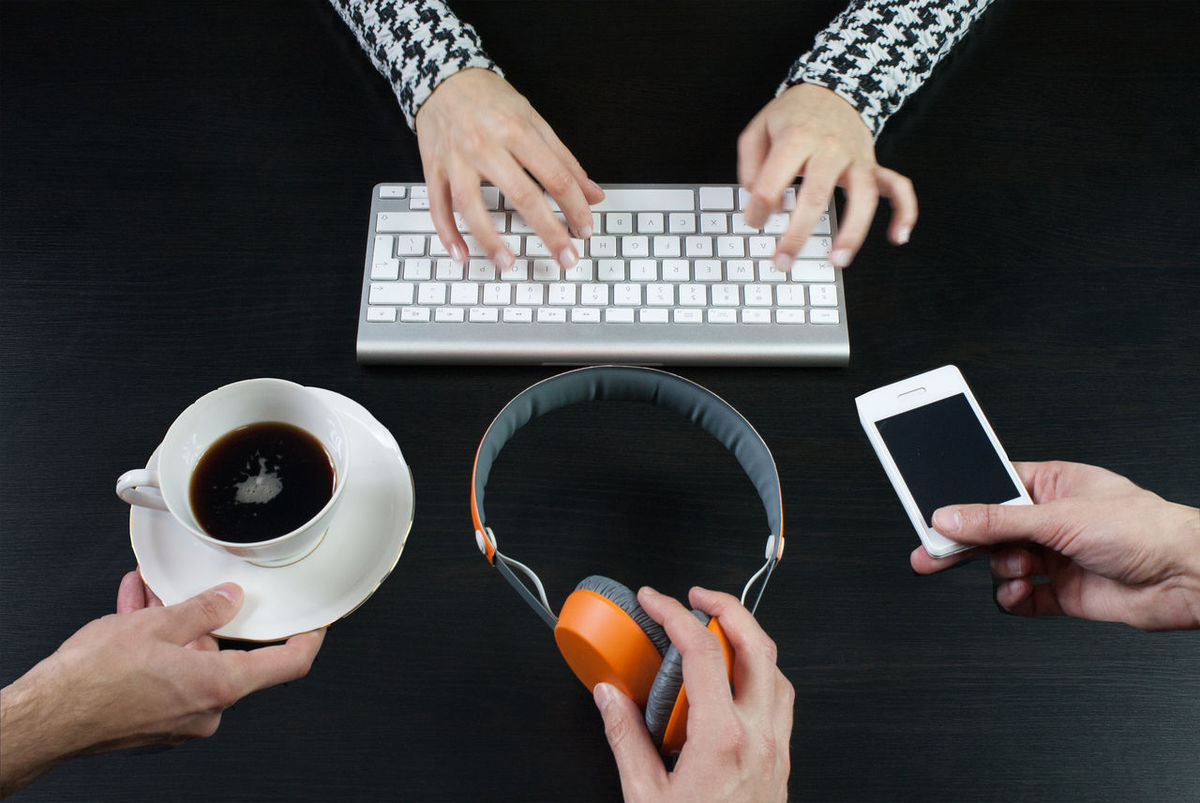 Coffee Directly Above Headphones High Angle View Home Home Office Home Office Time Homework Homeworking Indoors  Keyboard Laptop Mobile Occupation Showcase: January Still Life Table Technology Wireless Technology Work From Home The Color Of Business