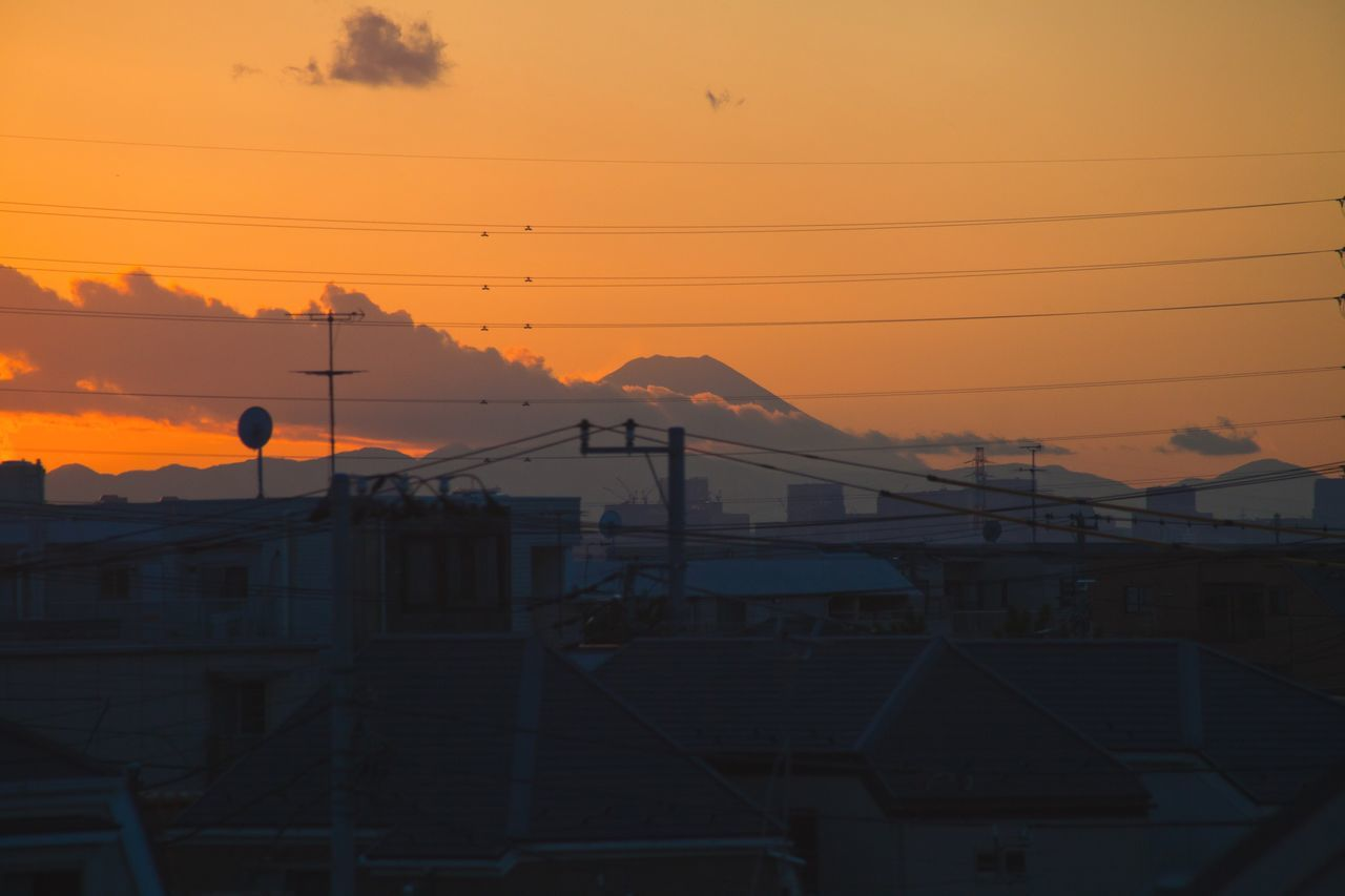 Adapted To The City Mount Fuji always blending magically with urban landscape of Tokyo. Sunset Sky Power Line  Electricity  Cable Electricity Pylon No People Outdoors Architecture Cloud - Sky Connection Nature Day Tokyo