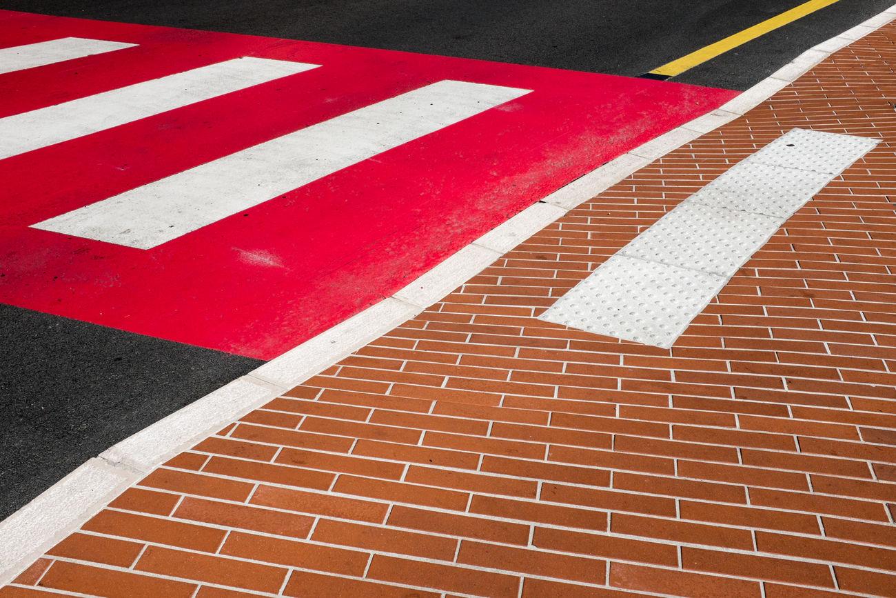 Monaco, 2017. Geometry Minimalism No People Orange Red Road Road Marking Road Sign Street Urban Geometry Yellow