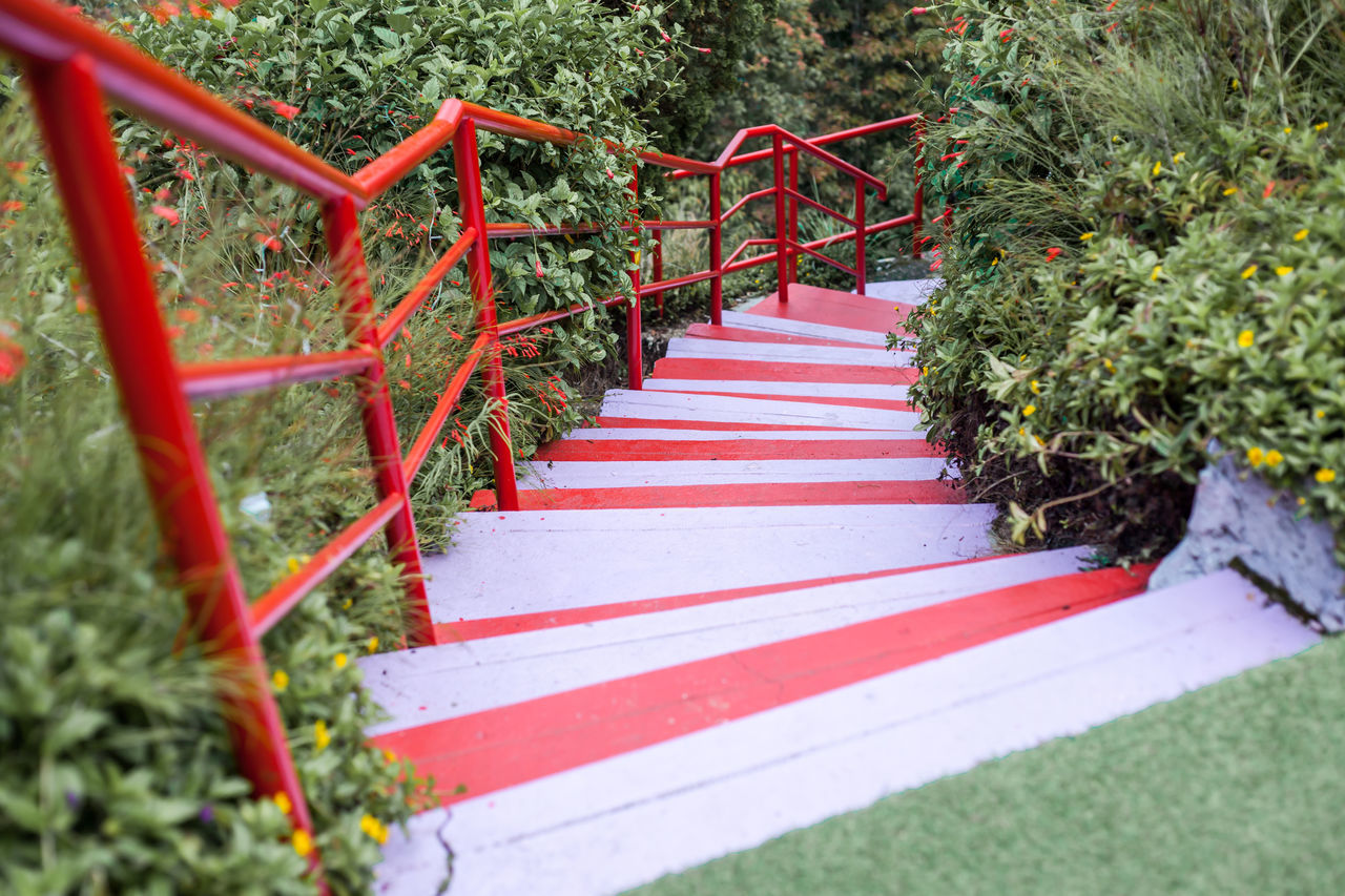 red, outdoors, steps, day, steps and staircases, no people, grass, nature