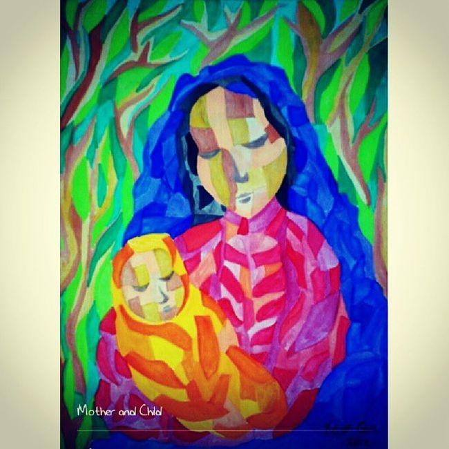 Mother and Child. Madonnaandchild Motherandchild Cubism Art artwork artist filipinoartist pinoyartist ... i always love makibg paintings with this kind of theme... mother and child