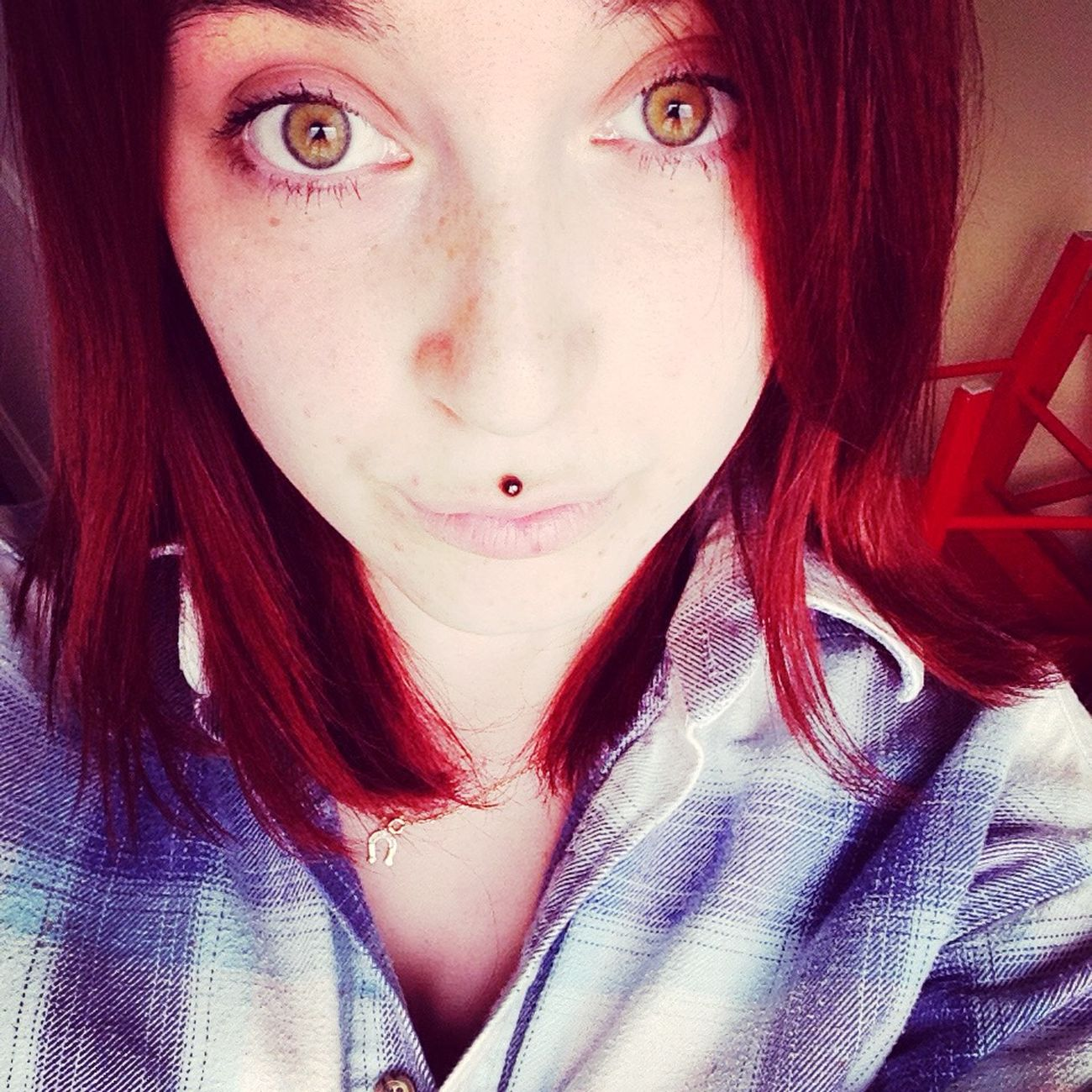 Lazy day, rainy day 👌🙈 Self Portrait Selfie Cool Taking Photos Relax Jacket Greeneyes Redhair Redhead Medusapiercing