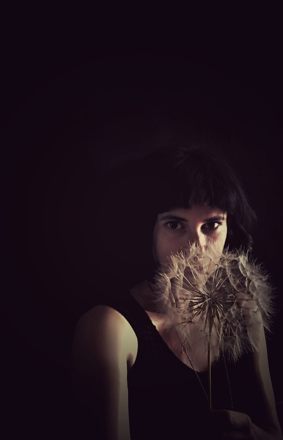 Me Giant Ball Dandelion Giant Dandelion Black Screen Portrait Of A Woman Poetry Dark Woman Portrait Black Background The Portraitist - 2016 EyeEm Awards