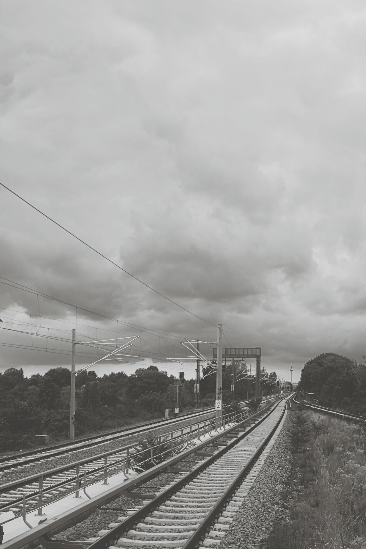 Train Tracks Trainphotography Train_of_our_world Berlin Ringbahn Fernsehturm Cityscapes Bwphotography Bwpicoftheday