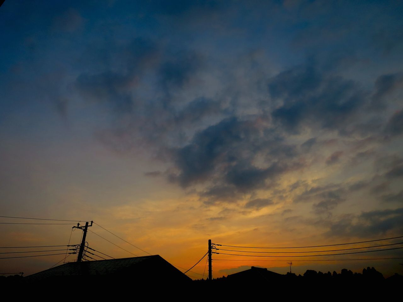 sunset, silhouette, connection, cloud - sky, sky, technology, orange color, cable, nature, beauty in nature, scenics, no people, low angle view, electricity pylon, outdoors, architecture