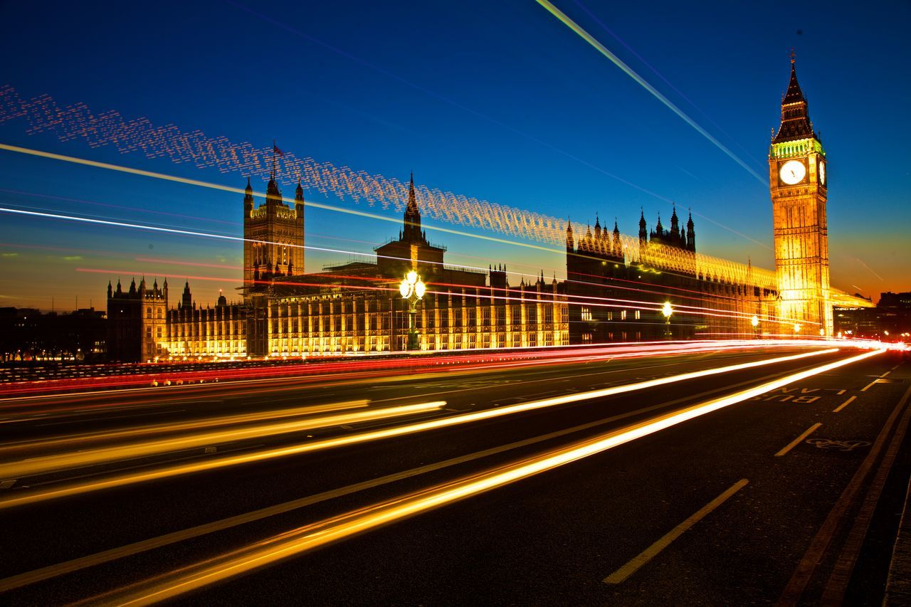Architecture Blurred Motion Bridge - Man Made Structure Building Exterior Built Structure City City Street Cityscape Dusk House Of Parliment At Night With Light Trails Houses Of Parliament On The River Thames Light Trail Long Exposure Motion Night Politics And Government Sky Traffic Transportation Travel Destinations