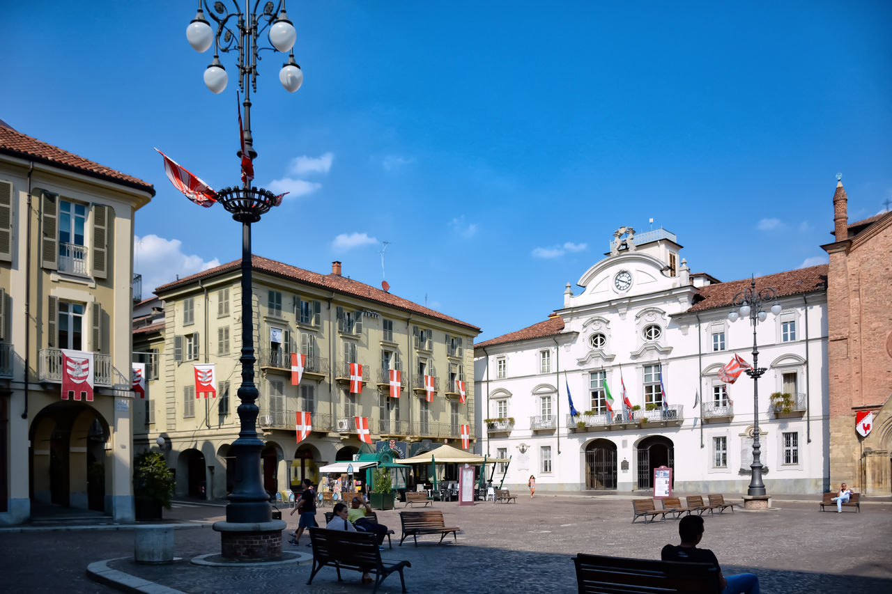 Architecture Asti Asti Italy Building Exterior Buildings Built Structure Center Central Square City Clouds Day Flags Italy Light And Shadow Men Outdoors People Real People Sky