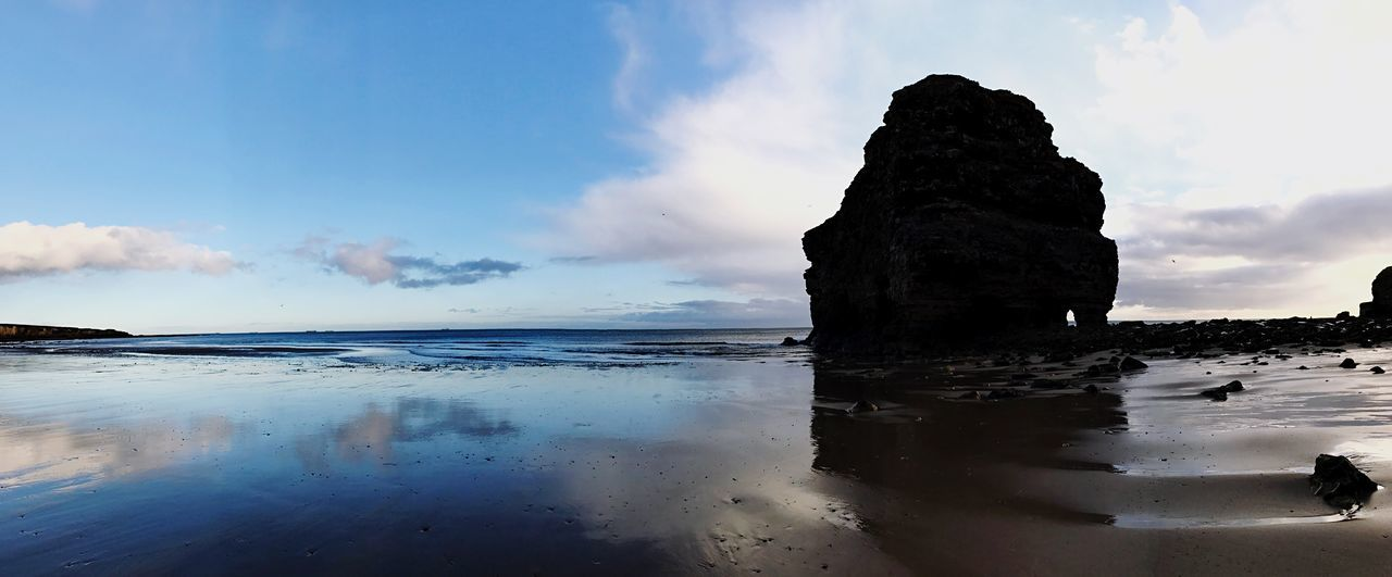 Marsden Rock Sea Water Sky Nature Beauty In Nature Tranquility Scenics Tranquil Scene Horizon Over Water Reflection Cloud - Sky Outdoors Rock - Object Day Waterfront Beach No People Wave Eyem ShotOnIphone IPhoneography Shotoniphone7plus Fresh On Eyeem