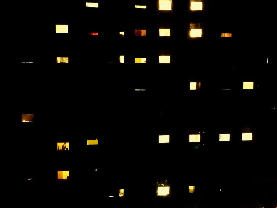 EyeEmNewHere Illuminated Architecture Building Exterior City Life Built Structure Night City Window No People Black Background Outdoors Student Accommodation Lights View From The Window...