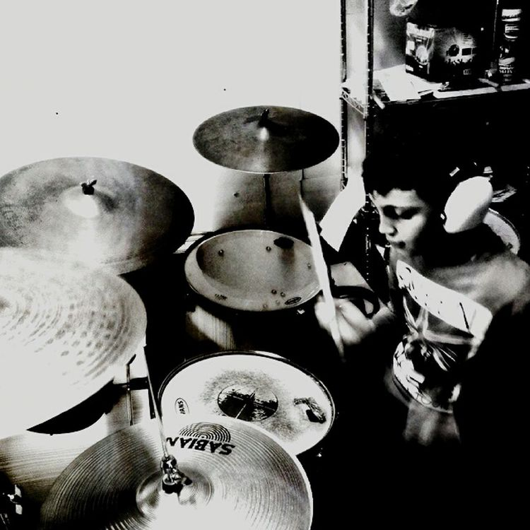 Gabry on the Drums Blackandwhite My Artwork