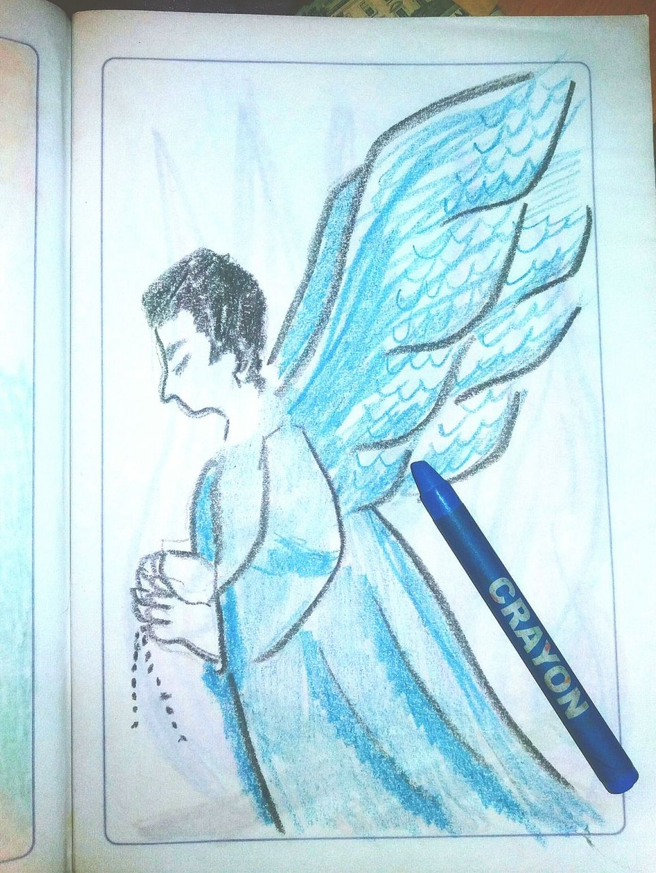 Drawings Drawing ✏ Draw Something Angel Wings Angels Crayon Art. Crayola Crayons Colorful Variety Choice Art Tools Blue Color BlueAngel Made By Me