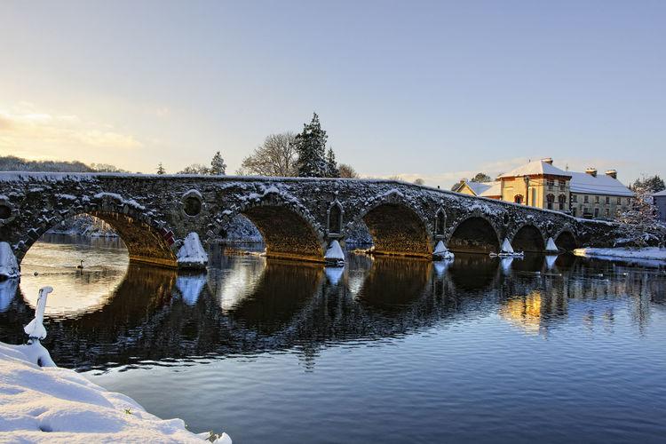 Graiguenamanagh bridge in winter Arch Bridge Architecture Barrow Canal Bridge Culture Famous Place Graiguenamanagh Historical Place History Ireland] Irish Kilkenny Outdoors Reflection River River Barrow Riverbank Snow Tourism Water Waterfront Winter