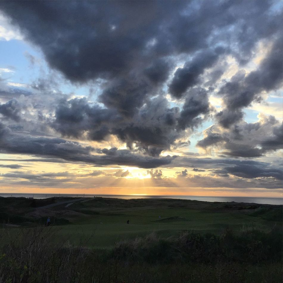 When golf courses take over. Inverness Cabot Links Cape Breton Nova Scotia Sunset Sun Beams Clouds Summer2016 Beautiful Simple Photography