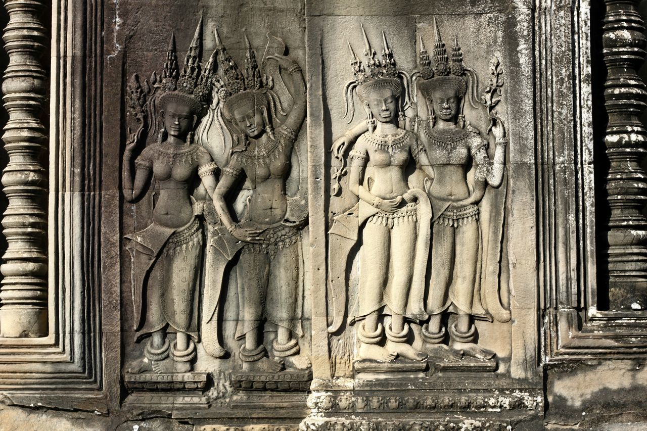 Ancient Ancient Civilization Angkor Wat Angkor Wat, Cambodia Angkor Wat, Siem Reap, Cambodia Architecture Art And Craft Bas Relief Cultures Day Elephant History No People Old Ruin Place Of Worship Relief Relief In Angkor Wat Relief In Budhist Temple Relief In Temple Relief Sculpture Religion