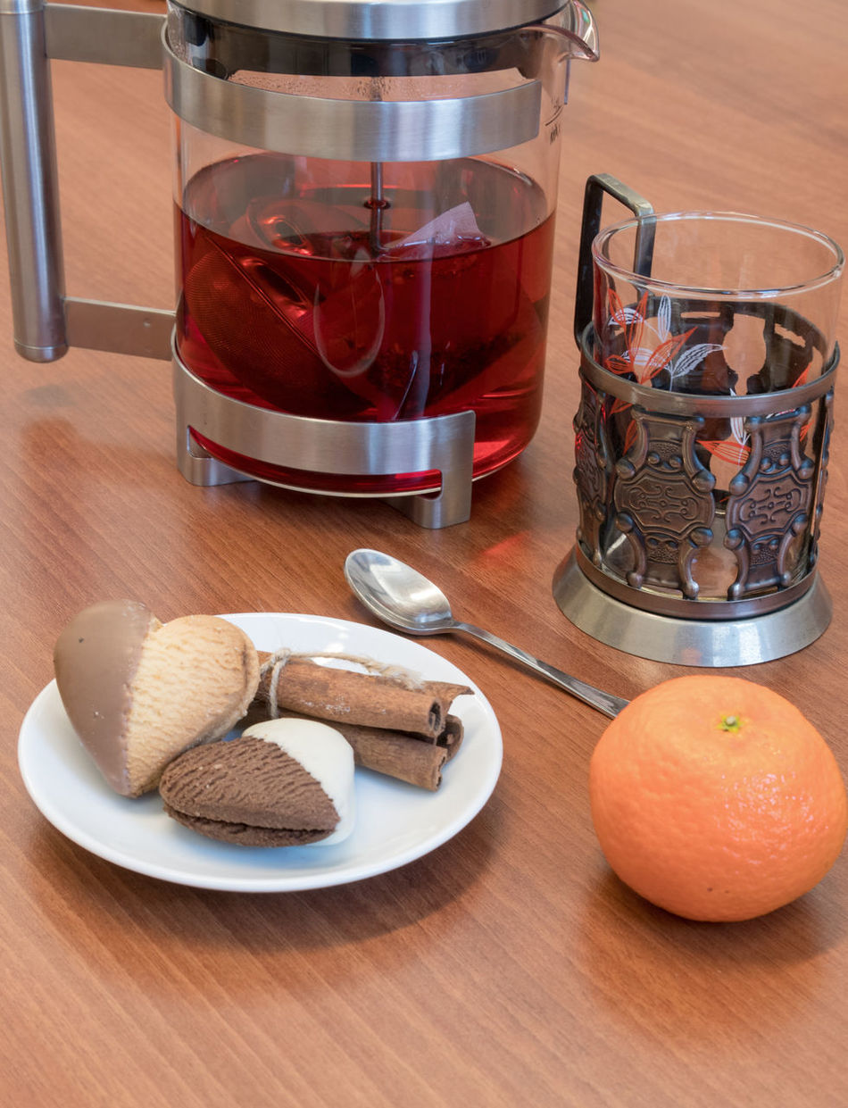 Tea,vegan cookies and mandarine on wooden background Close-up Cookies Day Drink Drinking Food Food And Drink Freshness Healthy Eating Hot Indoors  Mandarins No People Table Tea Vegan Wood - Material