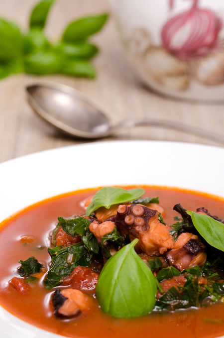 Octopus stew with tomato sauce and basil leaves Basil Food And Drink Green Color Meal Red Seafood Tomato Sauce Bowl Close-up Craken Day Food Food And Drink Freshness Healthy Eating Indoors  Leaf Leaves No People Octopus Plate Ready-to-eat Table Vegetable Vertical Format