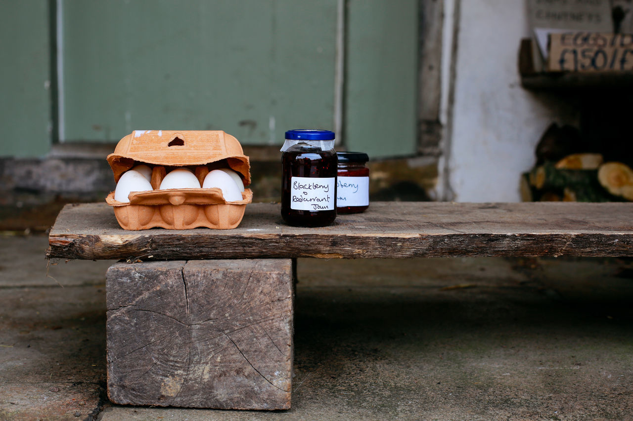 Local produce Close-up Day Eggs England Focus On Foreground Food Fresh Homemade Honesty Box Jam Jars  Lacock Local Produce No People Outdoors Rural United Kingdom Village Life