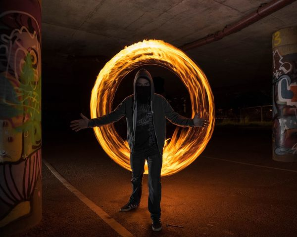 Night Circle Real People One Person Performance Skill  Men Motion Illuminated Long Exposure Standing Dancing Tunnel Speed Wire Wool Blurred Motion Leisure Activity Lifestyles Activity Dancer