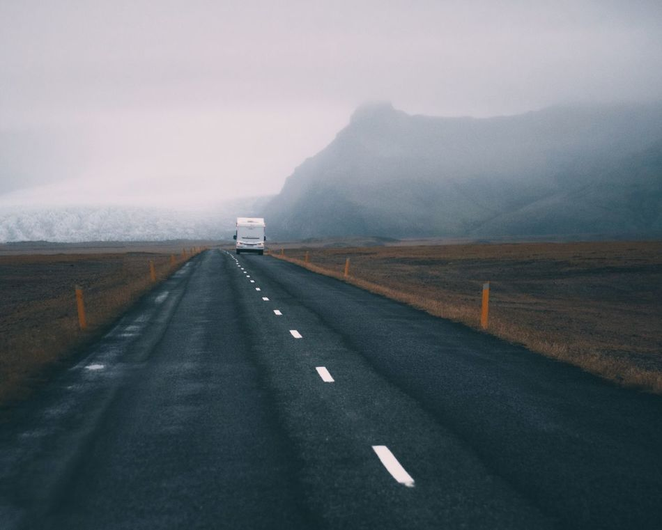 Transportation Road Mountain Sky No People The Way Forward Outdoors Day Nature Asphalt Landscape Scenics Fog Iceland Car