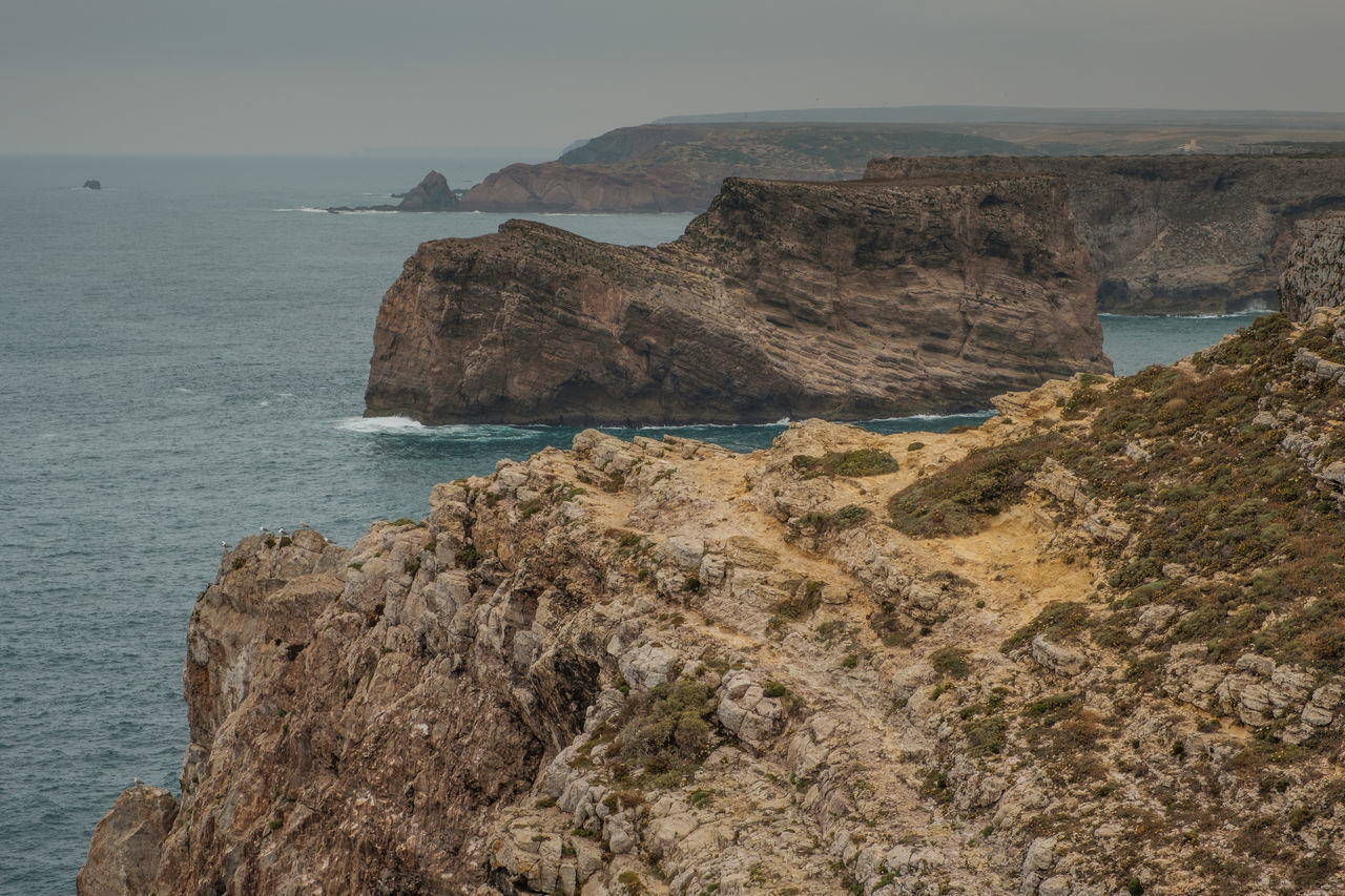 Algarve, Portugal Cliff Day Horizon Over Water Nature Outdoors Rock Formation Sea Tranquility Water